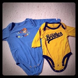Boys little brother long sleeved onzies 3-6 months